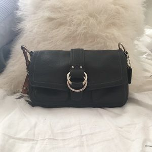 Coach Bag Pebbled Leather; w/turquoise silk lining